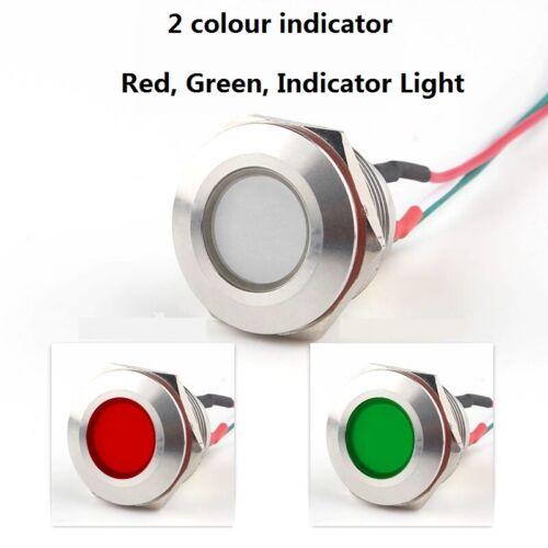 Métal 22 mm Clignotant Indicateur Lumière DEL Blink pilote en acier inoxydable Signal Lampe