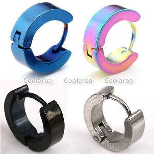 Pair-Mens-Punk-Stainless-Steel-Hoop-Huggies-Ear-Stud-Plug-Cuff-Earrings-Piercing