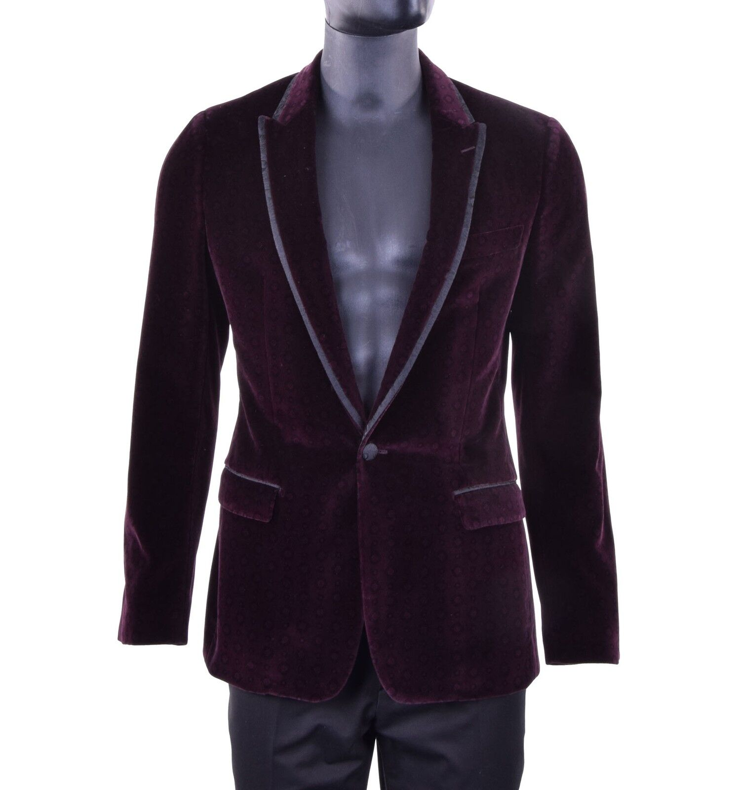 DOLCE & GABBANA RUNWAY TAORMINA Samt Blazer Sakko Bordeaux Rot Tuxedo ROT 05249