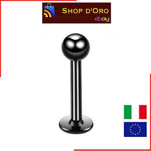 10-Pezzi-Lotto-Piercing-Acciaio-Chirurgico-Lingua-Labbro-Nero-Black-Anallergico
