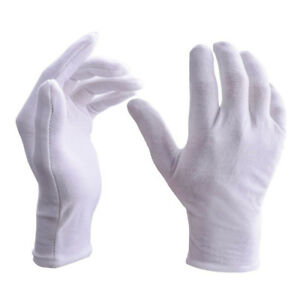 White Cotton Gloves Butler Beauty Waiters Magician Moisturising Eczema UK