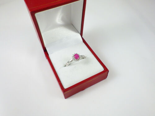 STERLING SILVER SMALL OVAL GENUINE RUBY /& DIAMOND CLUSTER ENGAGEMENT RING SIZE