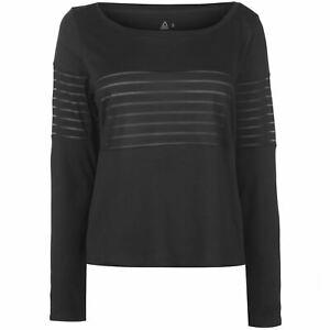 Reebok-Mesh-Full-Length-Sleeve-T-Shirt-Ladies-Performance-Tee-Top-Crew-Neck