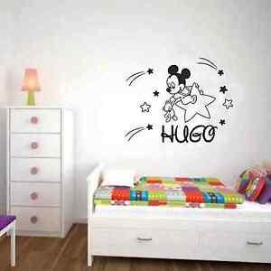 Pegatina vinilo adhesivo mickey bebe estrella nombre pared - Dibujo pared habitacion infantil ...