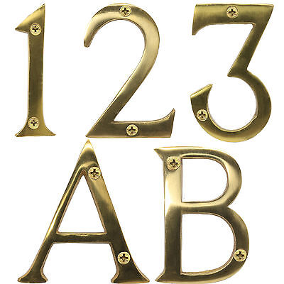 "LARGE SOLID BRASS NUMBERS / LETTERS WITH SCREWS 3""/75mm House/Home/Front/Door"