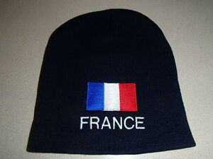 6571f59cc06 Image is loading France-French-Flag-Embroidered-on-Navy-Knit-Beanie-