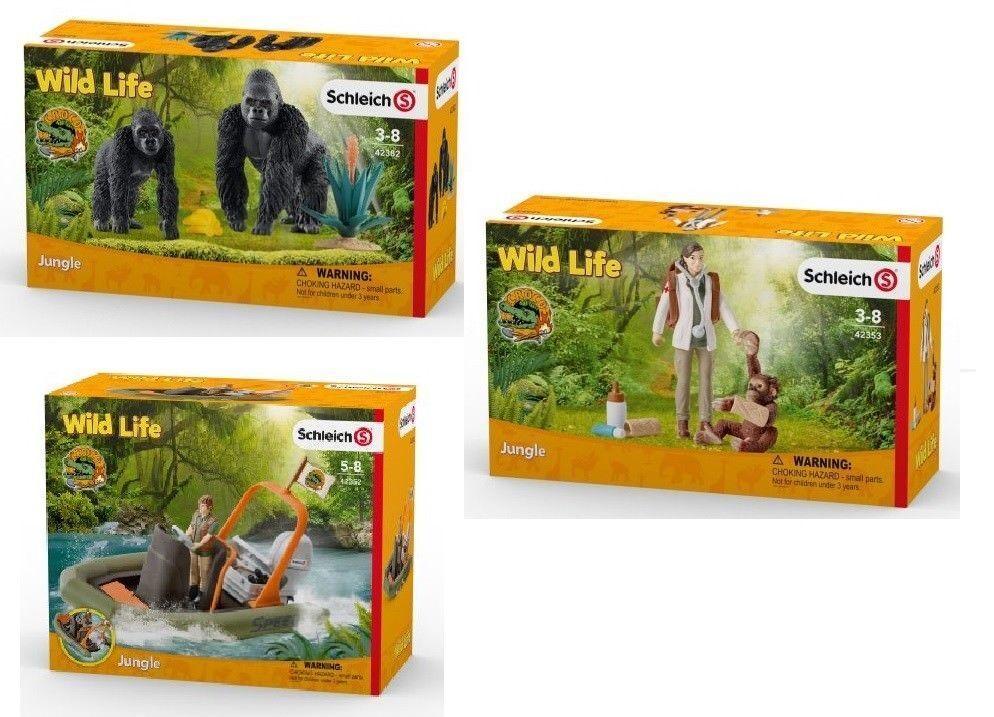 Schleich® Wild Life SET 42382 Gorillas + 42353 Tierärztin + 42352 SchlauchStiefel