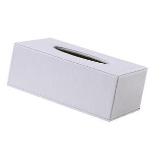 Home-Decor-Rechteck-Leder-Weiss-Kueche-Auto-Tissue-Box-Serviettenhalter