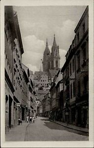 MEISSEN-Meissen-DDR-1953-Leute-Geschaefte-Burgstrasse-AK-Sachsen-Postkarte