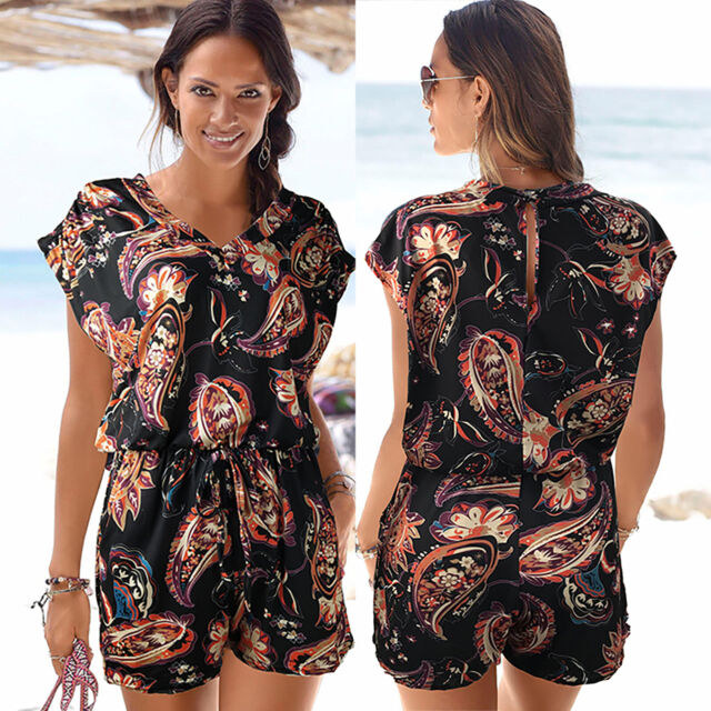 Women Ladies Floral Boho Shorts Pants Jumpsuit Romper Summer Beach Mini Playsuit