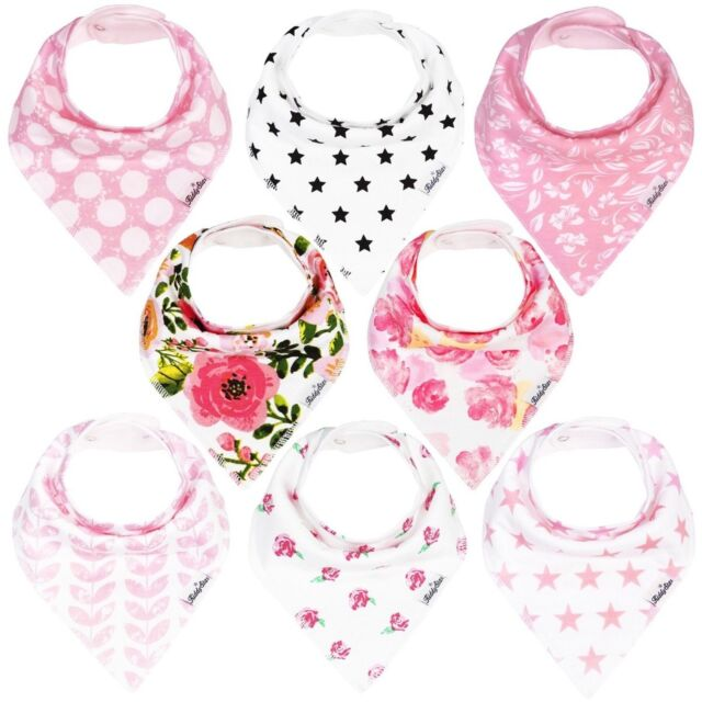 edcf2a881e65 Bandana Bibs Baby Girls 8pack Drool Bib Set Organic Adjustable Soft ...