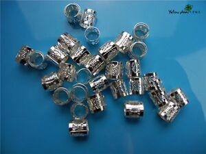 100 pcs dreadlock Beads silver dread hair braid adjustable cuff tube clip 8mm
