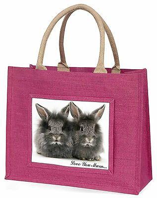 Silber Kaninchen 'Liebe, die Sie Mama' Große Rosa Einkaufstasche