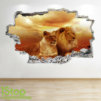 BEDROOM LOUNGE NATURE ANIMAL WALL DECAL Z716 LION WALL STICKER 3D LOOK