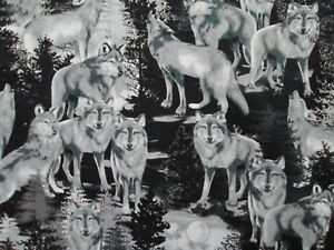 Details about REALISTIC WOLF WOLVES SPIRIT ANIMALS BLACK WHITE GRAY COTTON  FABRIC FQ