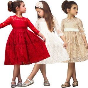 Vintage Lace 3//4 Sleeve Princess Flower Girl Dress Wedding Communion for Kid