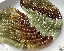 "5"" AAA GROSSULAR GARNET faceted rondelle gem stone beads 7.5mm - 8mm green amber"