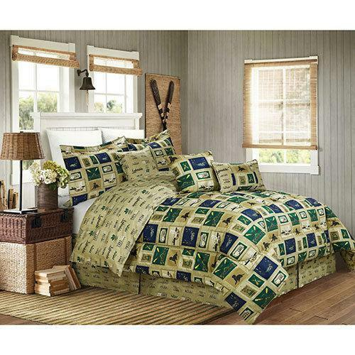 Cabin Fishing Hunting Lake House Duck, Lake House Queen Bedding