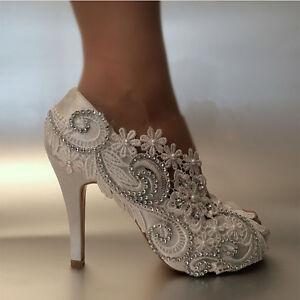 e749b1e91c86 Image is loading Ladies-Pearls-Rhinestone-Peep-Toe-Satin-Shoes-Bridal-