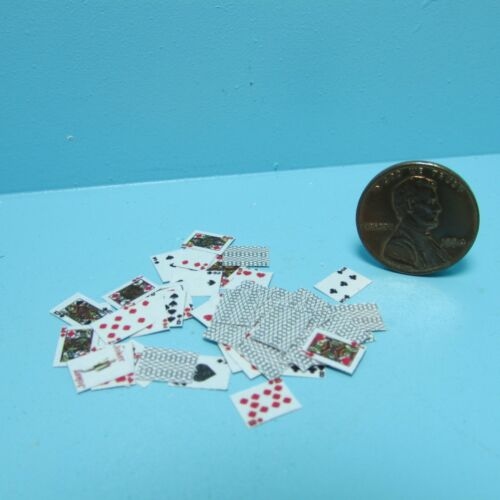 Dollhouse Miniature Playing Cards Full Deck with Detail /& Black Back ~ TIN1033