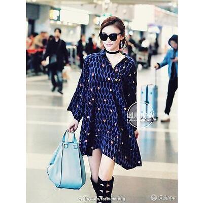 BNWT KENZO X H&M BLACK BLUE PATTERNED SILK  DRESS s.34,36  Art.No. 86-9577