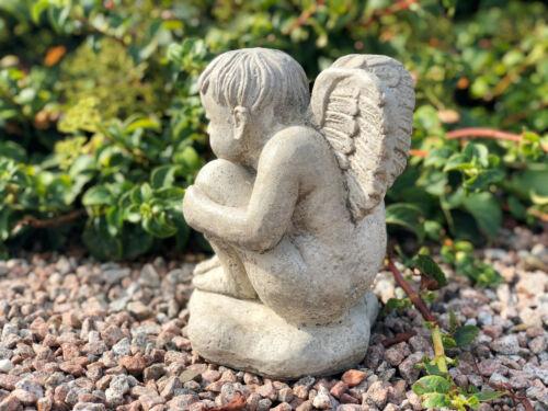 Engel Steinfigur Massiv 20 cm Grabdeko Gartendeko 415