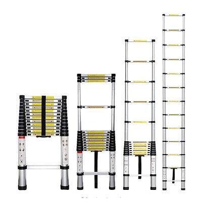 3.8M Telescopic Step Ladder Collapsed Adjustable Extension Lock Upstairs Hallway
