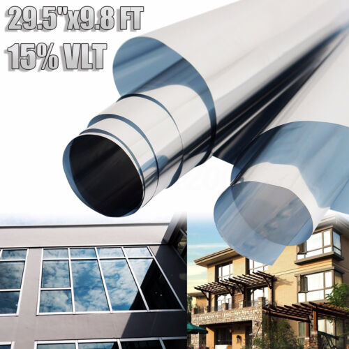 """29.5/"""" x 9.8FT 15/% VLT Silver Film One Way Mirror  Window Reflective Home Tint"""