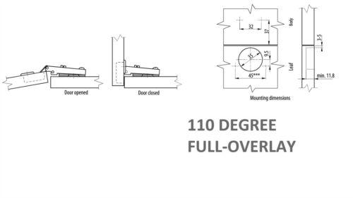 screws 30 x STANDARD KITCHEN CABINET DOOR HINGE 35 mm
