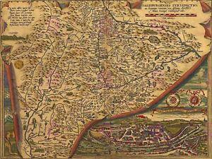 Maps-Antique-Vintage-Salzburg-Austria-Illustrated-Ornate-Canvas-Art-Print