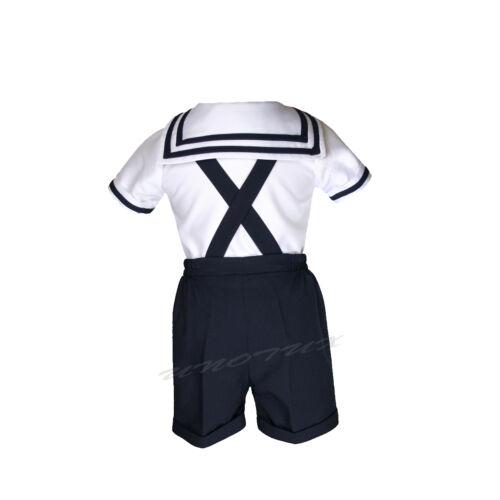 TODDLER /& BOY NAVY OUTFITS size S,M,L,XL,2T,3T,4T SAILOR SHORTS SUIT FOR INFANT