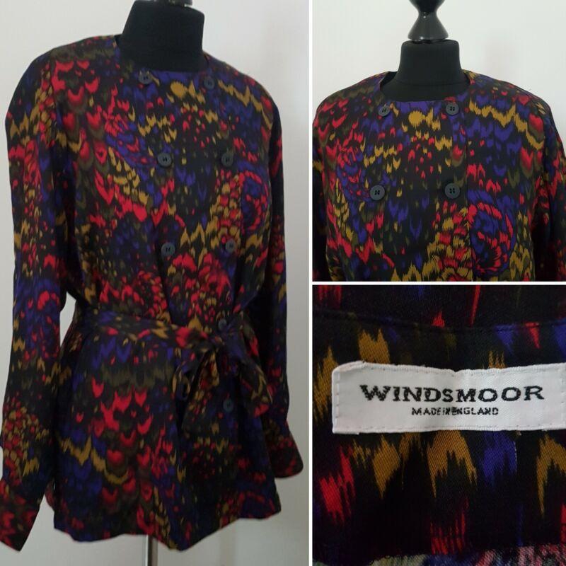 Señoras Camisa Vintage 90s Talla 12/14 Bold Jazzy Doble Abotonadura Con Cinturón Windsmoor