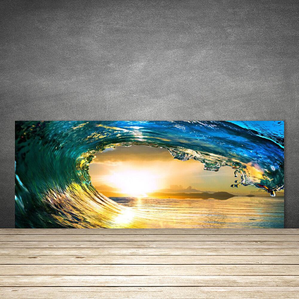 Crédence de cuisine en verre Panneau 125x50 Nature Vague Mer Coucher Du Soleil