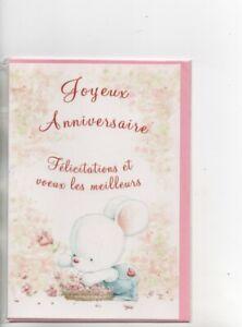 Carte Joyeux Anniversaire Ours Et Fleurs Rose 17 X 11 5 Cm Environ Ebay