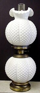 Fenton-Milk-Glass-Hobnail-Gone-With-The-Wind-Double-Ball-Lamp-GWTW