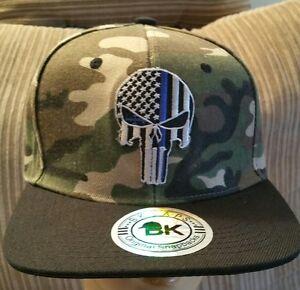 99d65881ffc Punisher Baseball Cap Flat Bill Snapback SWAT EYE Blue Line USA Flag ...