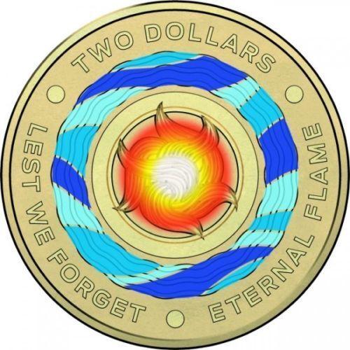 Australia 2018 $2 Dollars /'/'Eternal Flame/'/' Coloured Coin RAM Bag of 5 coins