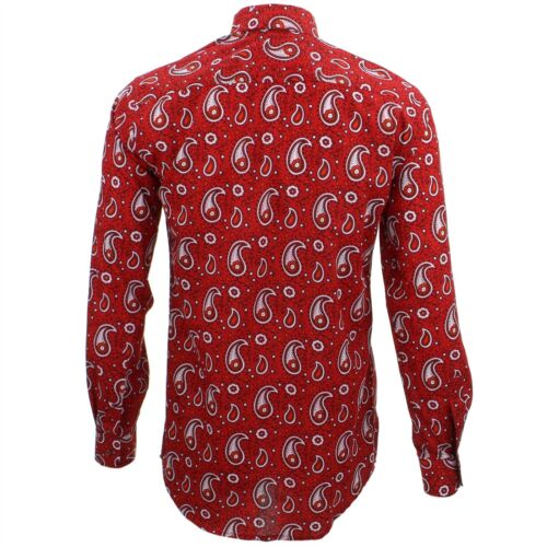 Mens Shirt Loud Originals TAILORED FIT Paisley Red Retro Psychedelic Fancy