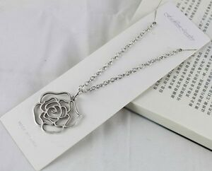 1pcs-Tibetan-silver-Rose-Flower-Pendant-Necklace