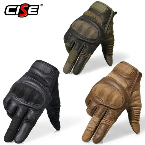 Leather Hard Knuckle Tactical Shooting Glove Army Combat Gloves Full Finger NEW