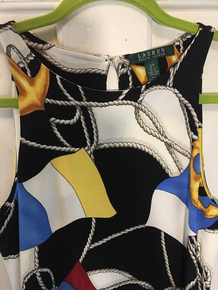 Lauren Ralph Lauren damen's Nautical Flag & Rope Print Jersey Sheath Dress Sz PS