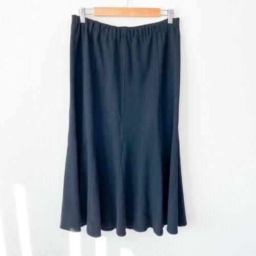 Eileen Fisher black wool elastic stretch minimal l