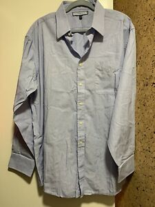NWOT TOMMY HILFIGER Ithaca Blue-White Striped Men's Long Sleeve Dress Shirt XL