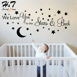 Moon Stars Love Quote Words Vinyl Wall Sticker Decal Kids Baby ...