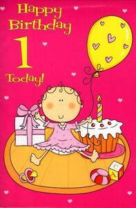 1 Today Special Age Birthday Card Baby Girl 1st Greeting Cards 1