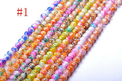 40pcs 50pcs 6MM 8MM Mixed DIY Round Chic Glass Loose Spacer Charms Beads