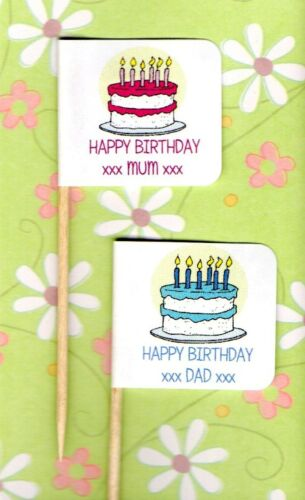 20 PERSONALISED BIRTHDAY CUP CAKE FLAG Party Pick Food Topper Stick Decoration