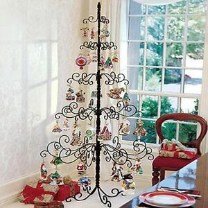 Wrought Iron Christmas Tree Metal Stand Holiday Ornament Display 7 ...