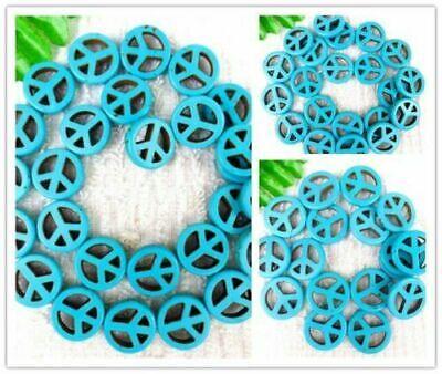 Filamento de 1 Azul Turquesa signo de la paz granos flojos joyería haciendo 15.5 pulgadas BR113