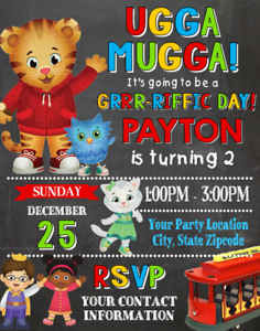 Details About Daniel Tiger Neighborhood Birthday Party Invitations Personalized Custom